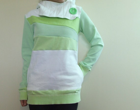 HONEYDEW MELON - Hoodie Sweatshirt Sweater - Recycled Upcycled - One of a Kind Women - Small/Medium