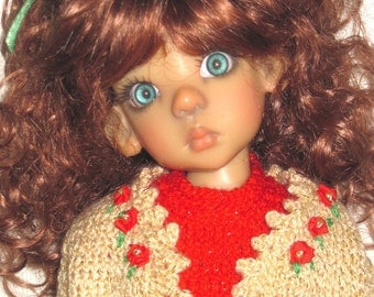 Christmas Casual Hand Knit Outfit for Kaye Wiggs MSD Size BJD Layla Doll 43 cm.