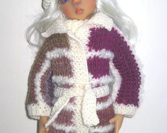 Hand Knitted Dress Coat Hat for Kaye Wiggs MSD Layla