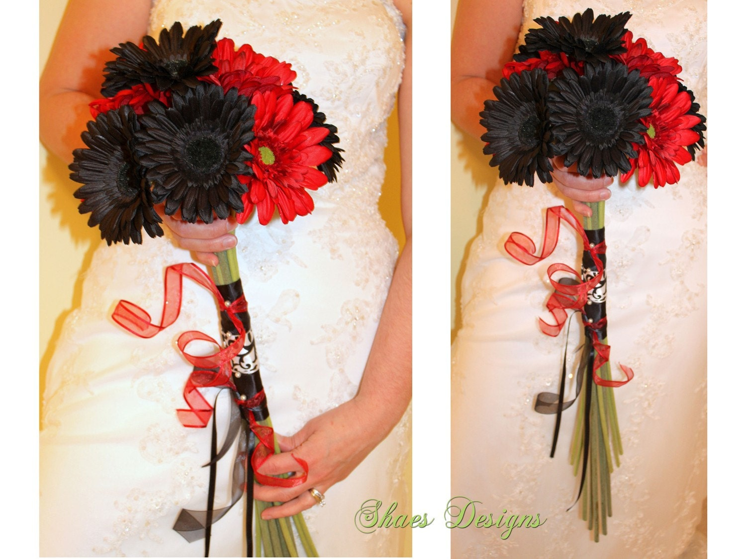 Red Gerbera Wedding Bouquets : White and red gerbera daisy wedding bridal bouquet