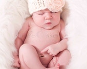 Ready to Ship - Chunky hat with Peach flower - newborn - photography prop