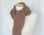Crochet Shawl in Cocoa, Crochet Shawl, Brown Scarf