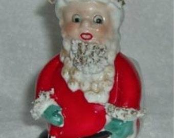 Vintage UCAGCO Christmas Spaghetti Santa Claus Figurine 1950s  Holt Howard Napco Red White Planter Vase