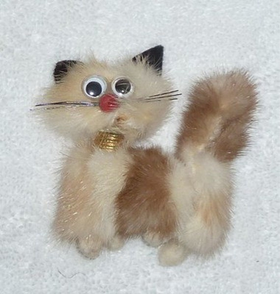 Vintage 1940s 1950s MINK Fur Brown Beige CAT KITTY Brooch Pin