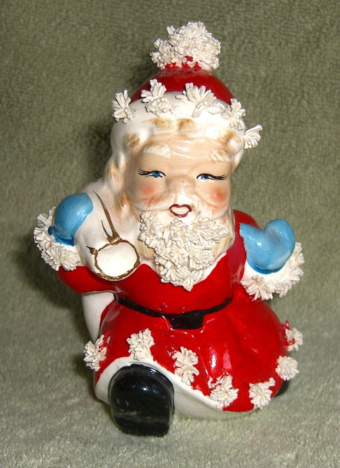 Vintage spaghetti santa claus figurine blue eyes s