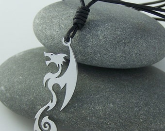 Dragon - stainless steel pendant on natural leather cord mens or womens art necklace.