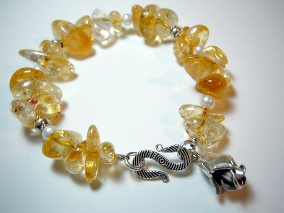 Natural Citrine, Freshwater Pearl, and Hill Tribe Silver Bracelet by Debbie Renee