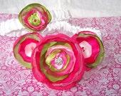 WEDDING TOSS AND KEEP GARTER SET - Pink and Green, Layered Flowers, Custom