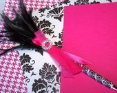 FEATHER PEN - Black and White Damask and Hot Pink, Rhinestone buckle