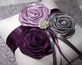 Ring Bearer Pillow - White or Ivory, Dark Plum, Lilac, Charcoal Gray and White, custom colors available