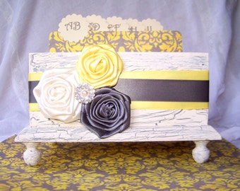 GUEST Box, Advice Box, Yellow and Gray Wedding, Ivory Shabby Chic Box, Custom colors