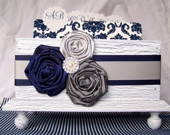 GUEST Book Box, Dividers, Advice cards, Advice Box, Navy Blue and Gray Wedding, White Shabby Chic Box, Custom colors