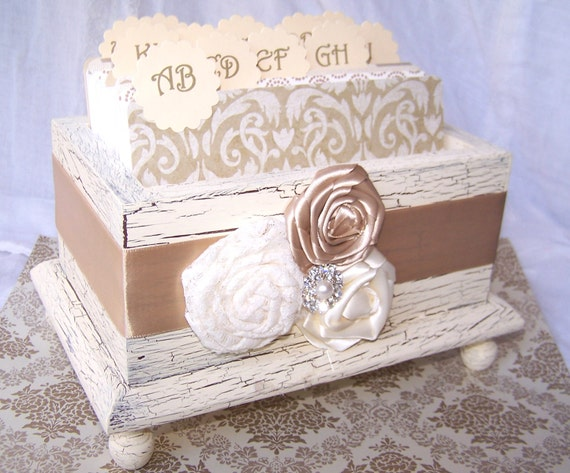 Wedding Guest Book Box - Ivory and Champagne, Shabby Chic Neutral Elegance, Vintage inspired, Custom colors available
