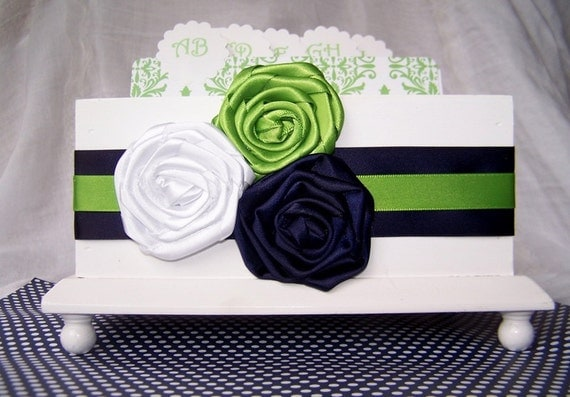Wedding Guest Book Box - Navy Blue and Green, White Box, Marine Blue, Custom stains and colors available