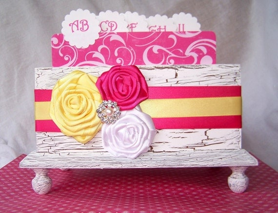 Wedding Guest Book Box  -  Pink and Yellow,  White Shabby Chic Box, Custom colors available