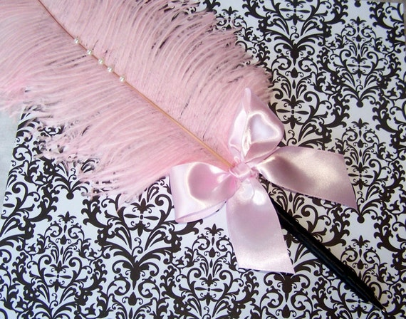 Feather Pen- Pink and Black, Light Pink Feather and Bow with pearls - Custom Colors are available