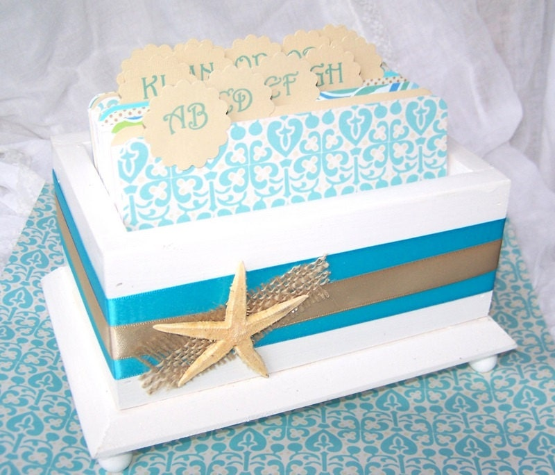 wedding guest book box beach theme aqua blue and sand