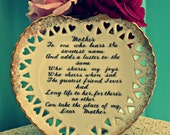 Vintage Mother Heart Plate Poem Porcelain Gift Wall Hanging Mom Collector Plate Gold Japan Shabby Chic