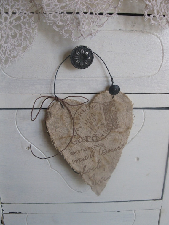 Aged Linen Heart Primitive for your Cottage