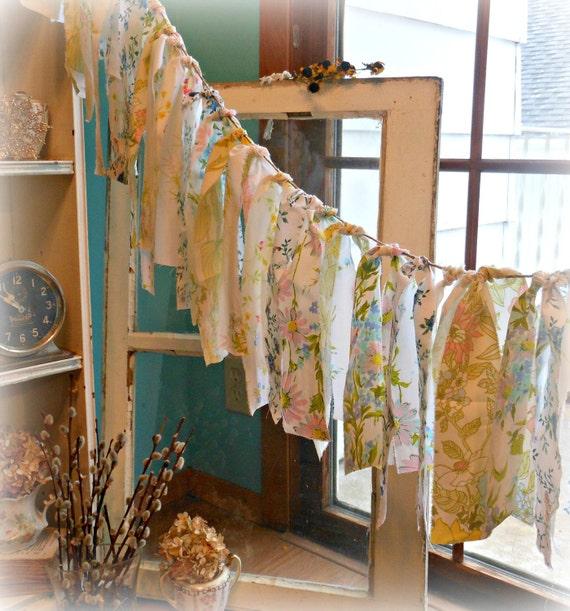 Rosemarys Garden Shabby Chic Fabric Ribbon Garland Bunting Wildflowers Banner