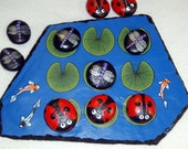 TIC TAC TOE board game original weatherproof Koi patio barbeque family fun camping dorm room decor hand painted rocks by Rockartiste