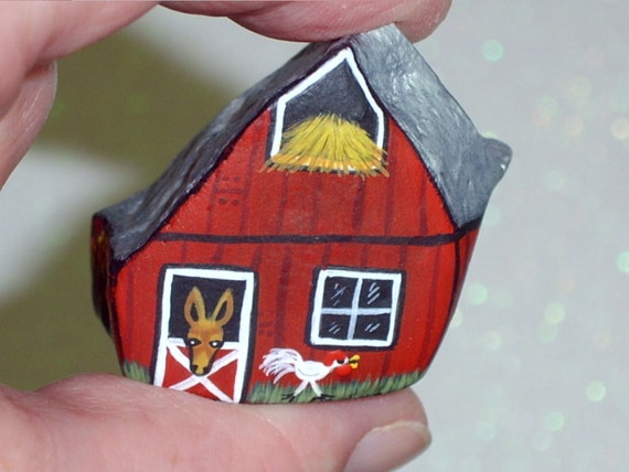 Red mule barn Americana miniature dish garden moss terrarium decor farm ranch kitchen OOAK hand painted rocks by Rockartiste