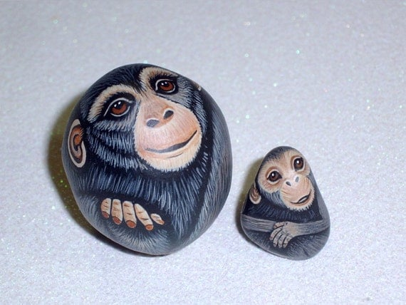 "Custom order for ""monkeybec24"".  Chimpanzee family - Dad, Mom and Baby chimps, miniature zoo animals, hand painted rocks by Rockartiste"