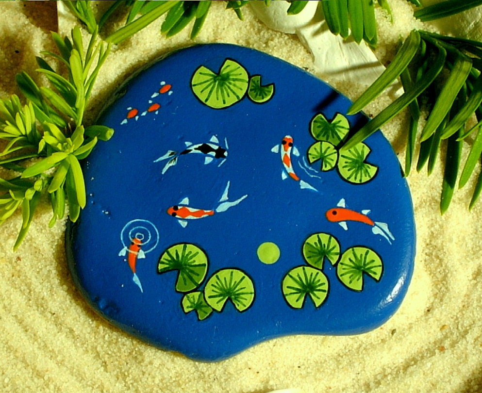 Koi pond miniature dish garden lagoon zen water feature museum for Koi pond rocks