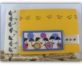 Sunny Yellow, with Umbrellas Handmade greeting card, blank inside