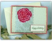 Handmade Happy Birthday Rose Greeting card