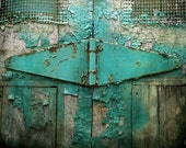 Montreal Art Shabby Teal Turquoise Wall Art Color Photography Peeling Paint Texture Architectural Detail - The History of Weather