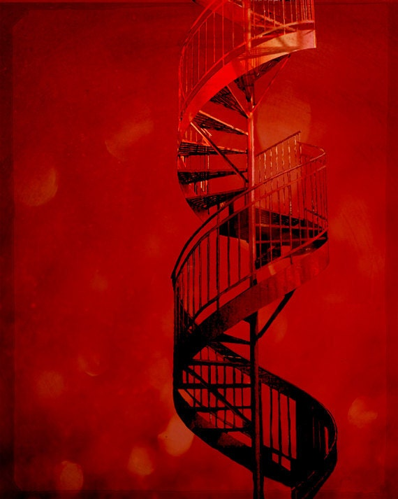 Architecture photography spiral staircase red decor photo