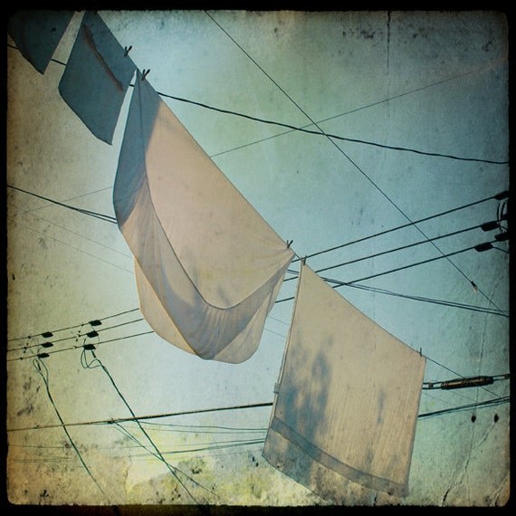 Laundry Room Decor Print Clothesline Photography Montreal Art Plateau Hanging Laundry Quebec Canada Print -  Morning Laundry