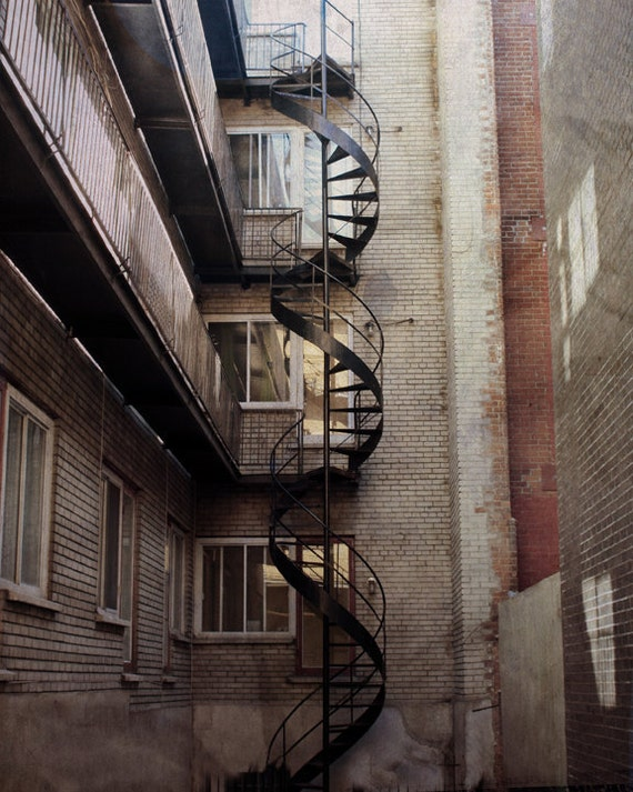 Architecture Print Photography Montreal Art Spiral Staircase Earthtones Brown Tan Rust Canadian Sellers The Lonely Pixel - Serpent City
