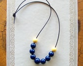bubble beaded necklace - blue and yellow - recycled & vintage jewelry