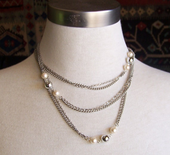 silver glamour - a necklace of  recycled and vintage jewelry