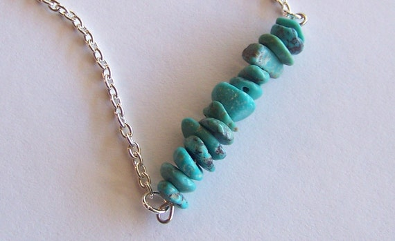 little bits - turquoise - a necklace of recycled jewelry