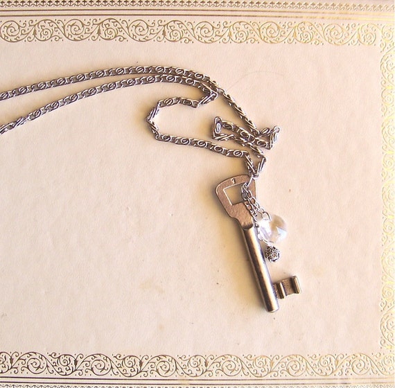 vintage skeleton key necklace, chandelier crystal, sterling silver bead - necklace of vintage & recycled jewelry - secret is safe