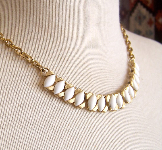 white rice necklace - recycled and vintage jewelry - last one
