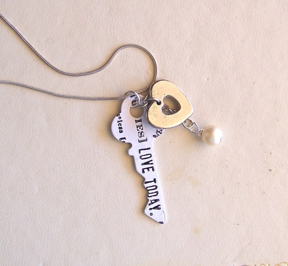 key to love - a necklace of vintage and recycled jewelry