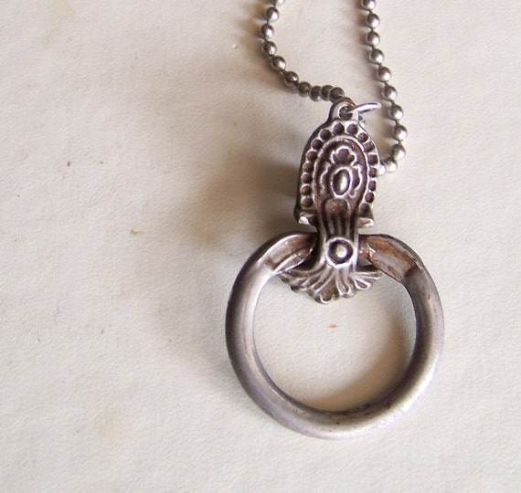 pull round - vintage drawer pull necklace