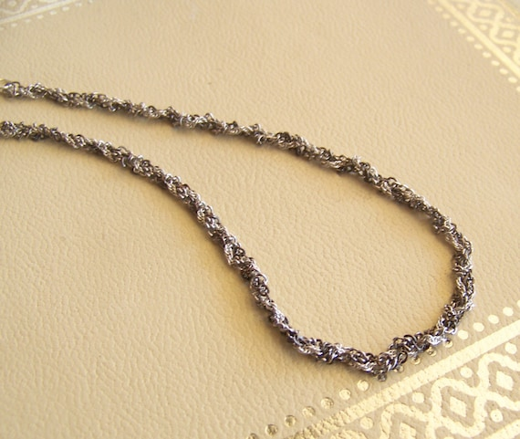 twist chain silver necklace - vintage & recycled jewelry