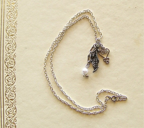 feather pearl heart charm necklace - a necklace of recycled jewelry