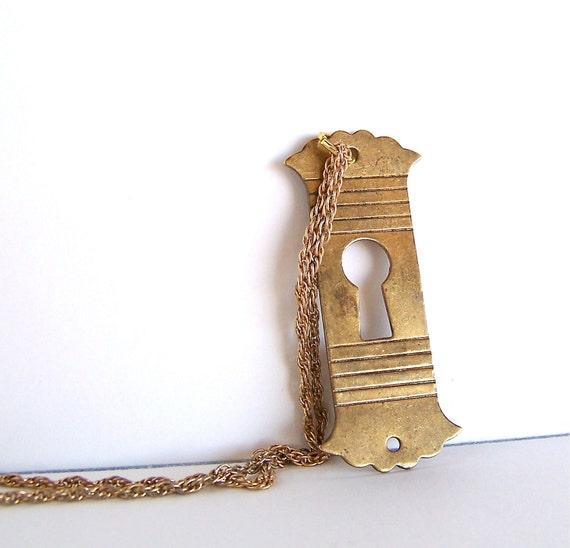 key hole necklace - brass - vintage - recycled - pendant - rock n roll jewelry