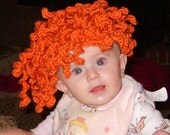 Kiddy Lidders- Adorable Curly Redhead / Orange Hair Hat - Crochet - Handmade - Perfect for Winter Time and Christmas