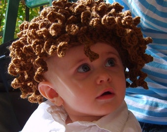 Kiddy Lidders - Adorable Curly Brown Hat Crochet Hair / Wig - Handmade - Perfect for Winter and the Holidays - Baby, Toddler, or Child