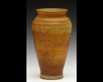 Brown/Mustard Vase - Wood Ash Glaze