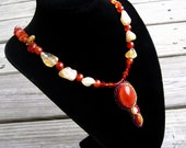 Carnelian Necklace, Bead Embroidered Necklace with Citrine - Morning Flame by CircesHouse on Etsy