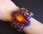 Fearless Bead Embroidered Cuff on Etsy--Luxury Bead Embroidery by CircesHouse, with Swarovski Crystals