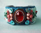 Rivendell Bead Embroidered Cuff--Luxury Bead Embroidery by CircesHouse, with Beaded Ivy Vines and Leaves